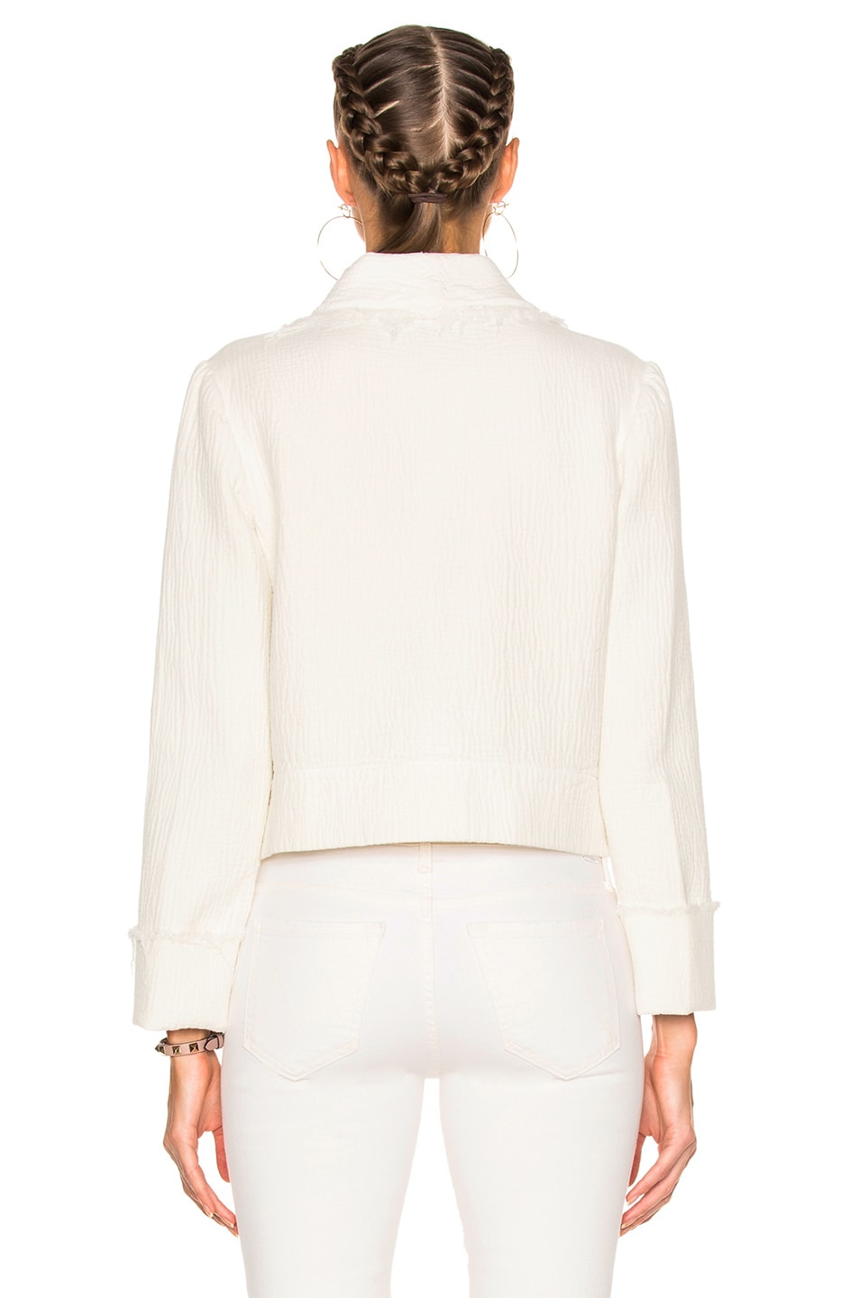 Image 5 of Raquel Allegra Cropped Blazer in Dirty White