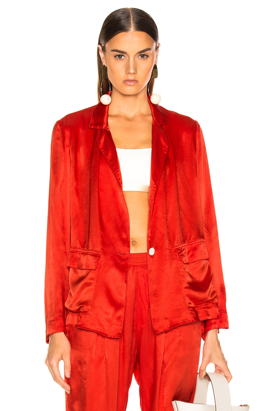 Image 1 of Raquel Allegra Satin Cargo Blazer in Red