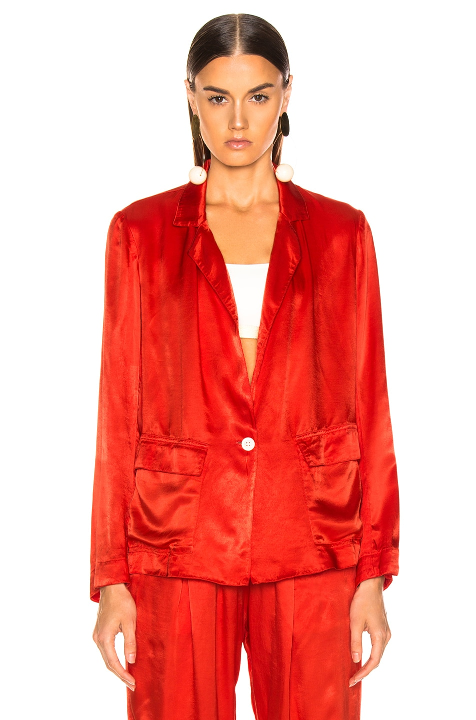 Image 2 of Raquel Allegra Satin Cargo Blazer in Red