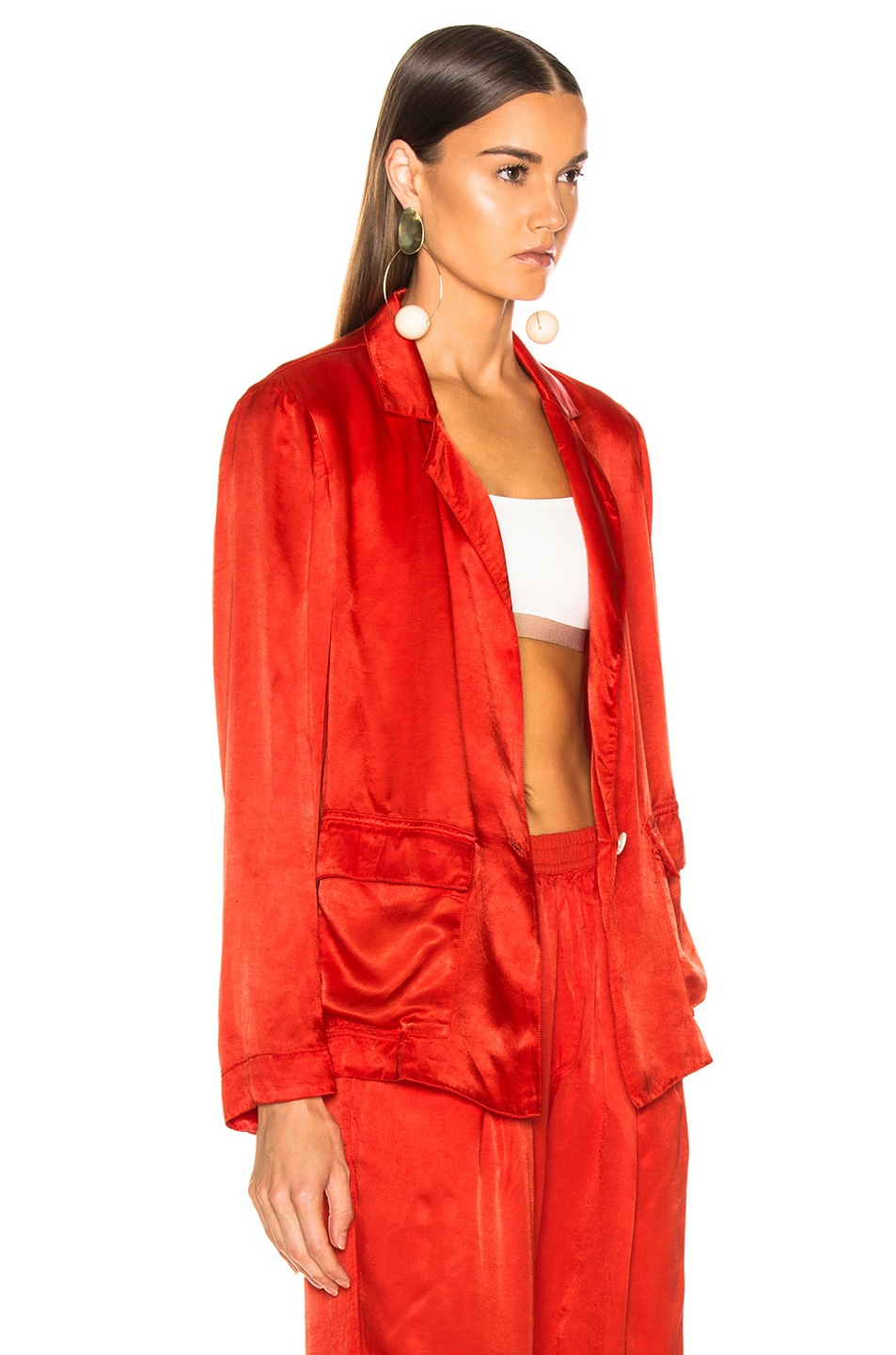 Image 3 of Raquel Allegra Satin Cargo Blazer in Red