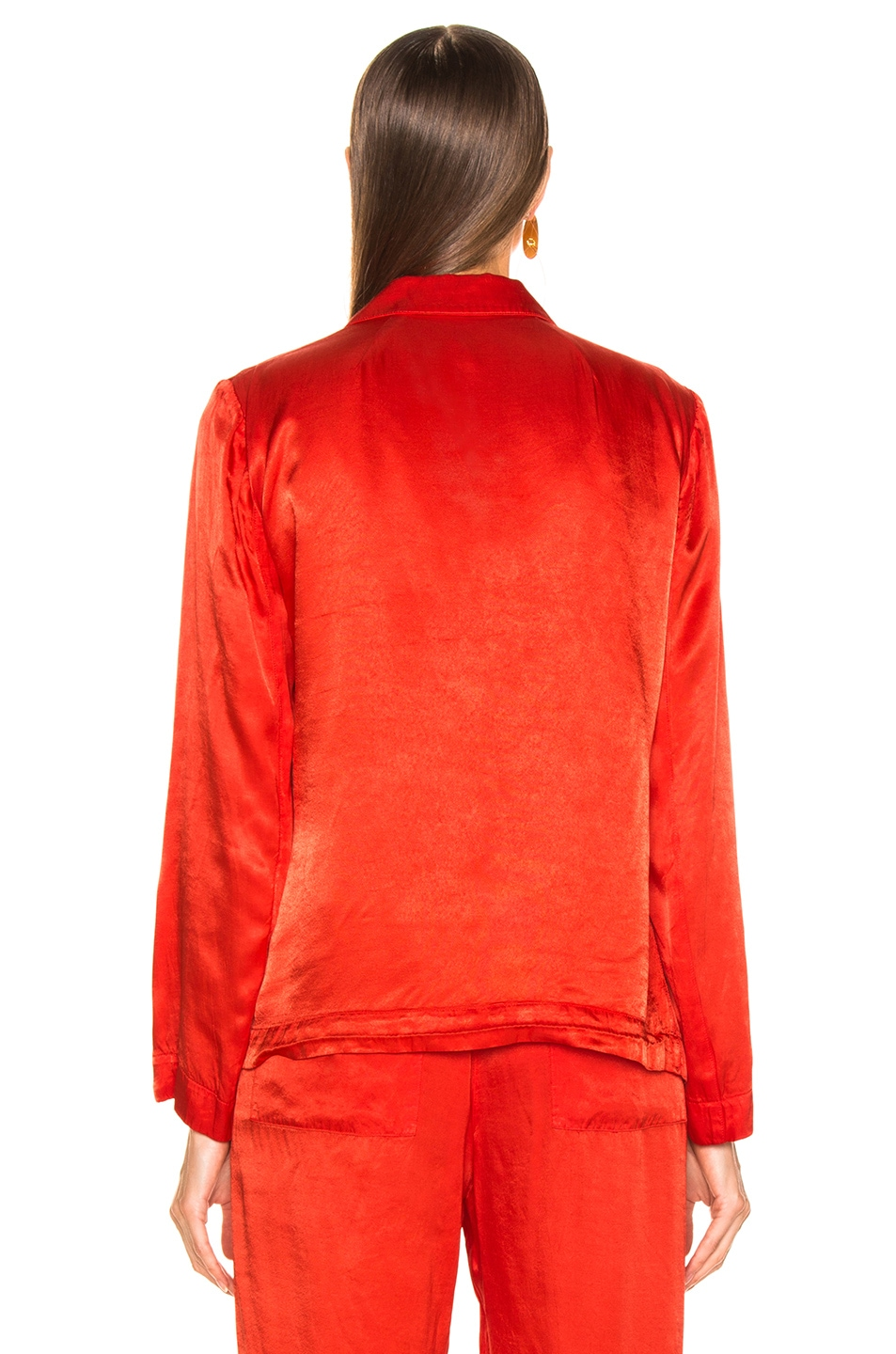 Image 4 of Raquel Allegra Satin Cargo Blazer in Red