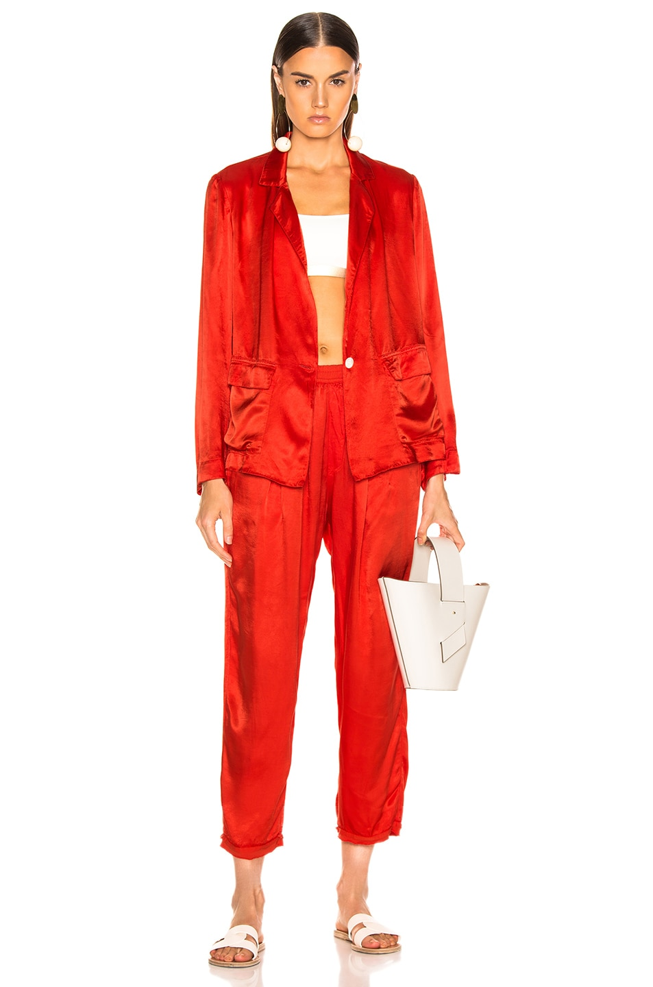 Image 5 of Raquel Allegra Satin Cargo Blazer in Red