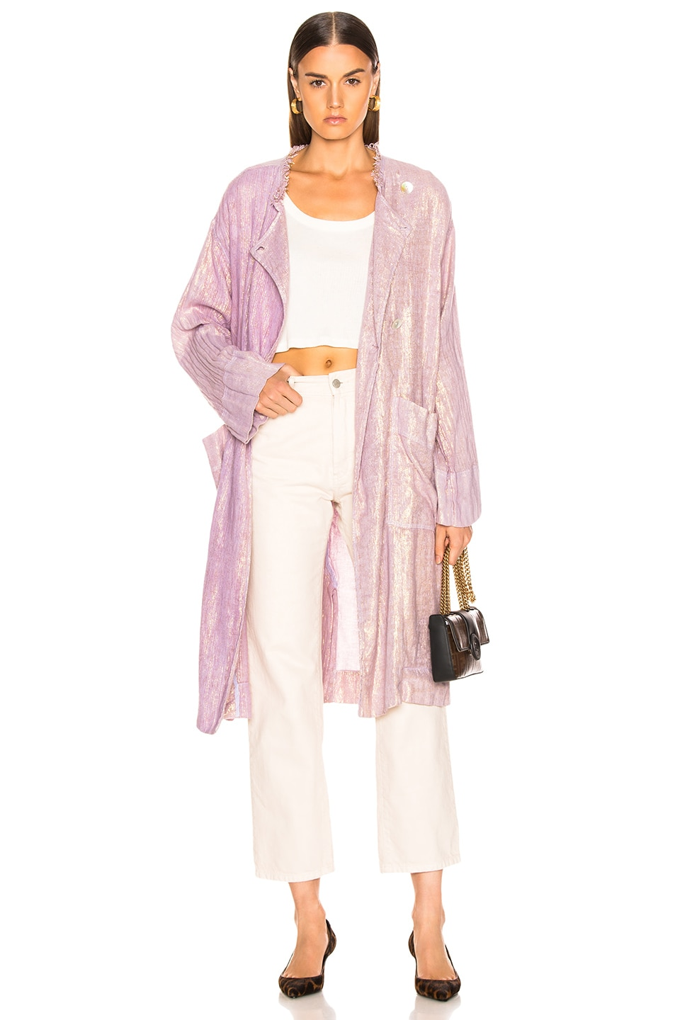Image 1 of Raquel Allegra Cropped Trench in Lilac