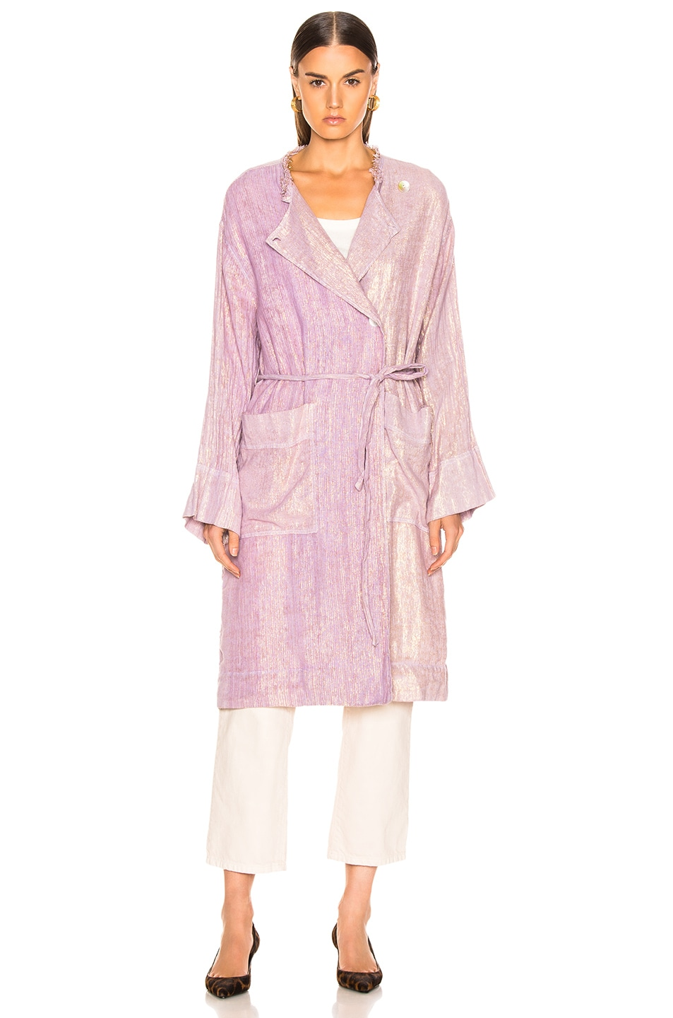 Image 2 of Raquel Allegra Cropped Trench in Lilac