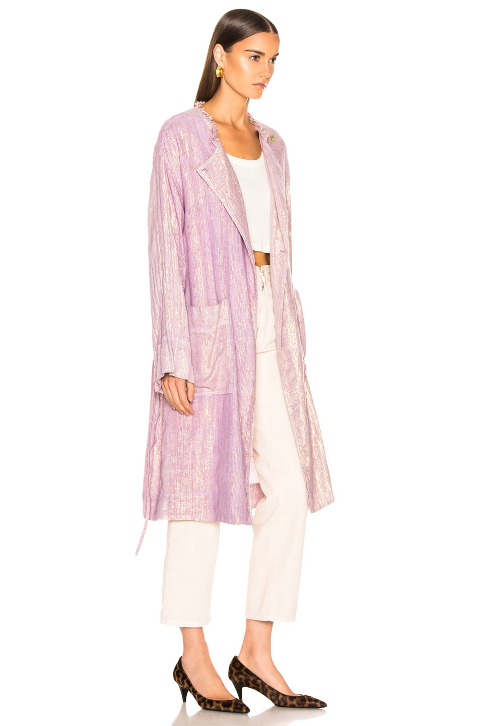 Image 4 of Raquel Allegra Cropped Trench in Lilac