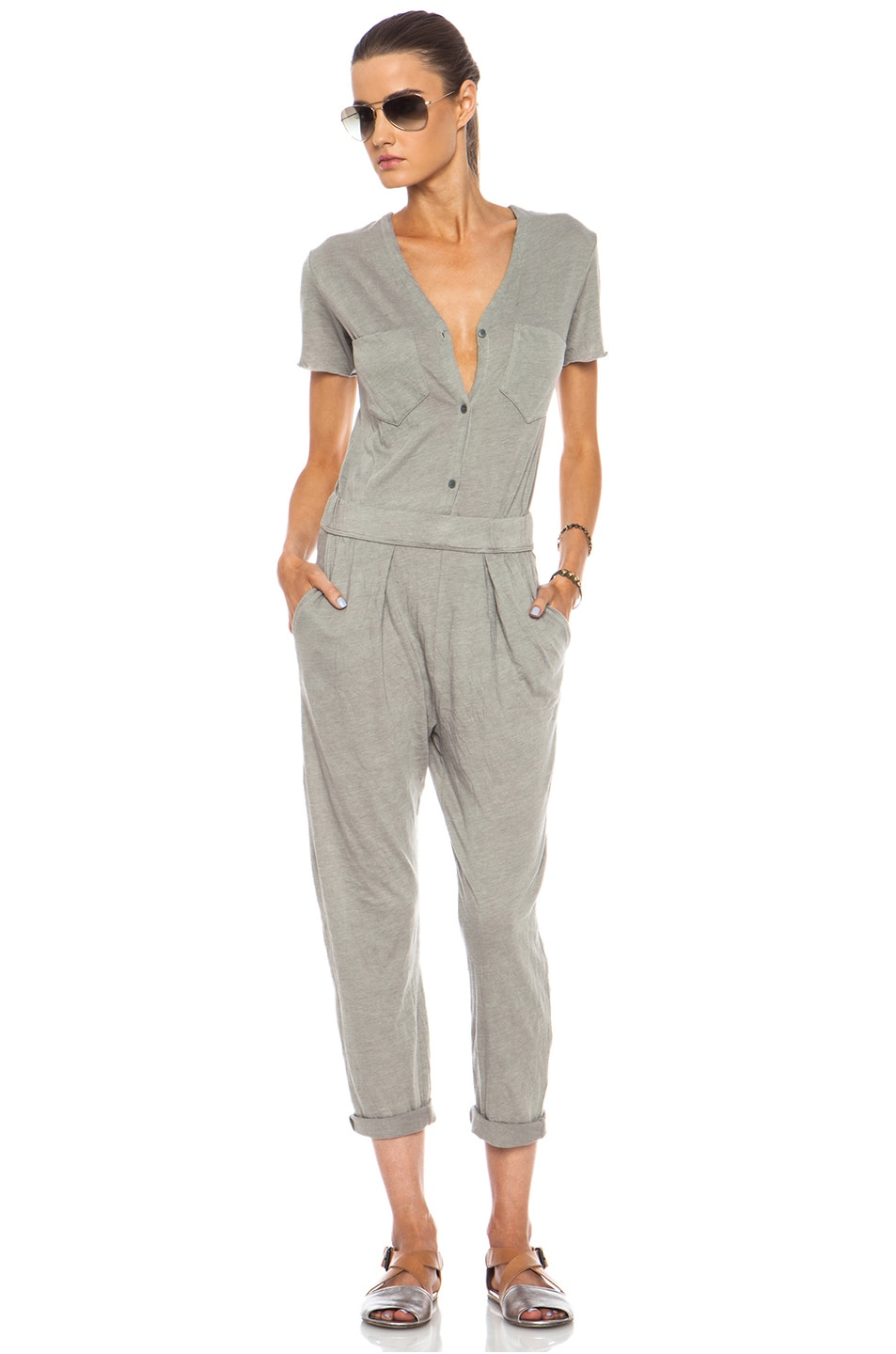 Image 1 of Raquel Allegra Work Wear Cotton-Blend Jumpsuit in Grey