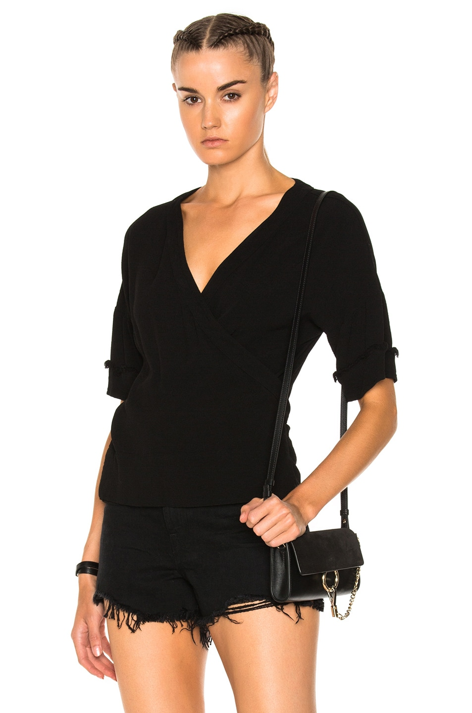 Raquel Allegra Short Sleeve Kimono Top in Black