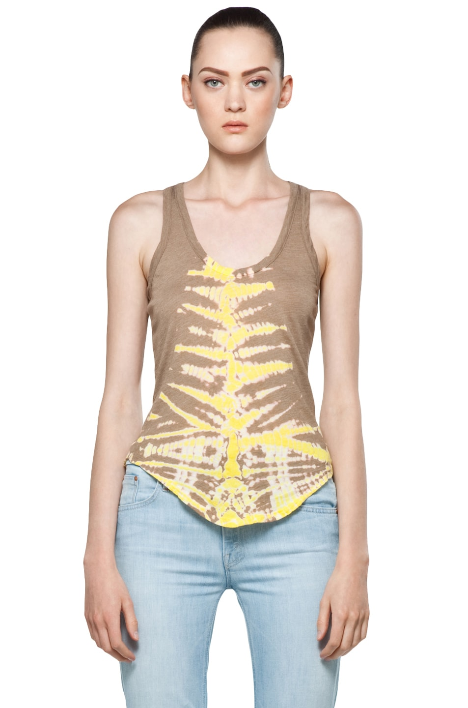 Image 1 of Raquel Allegra Back Shred Tank in Fern Taupe
