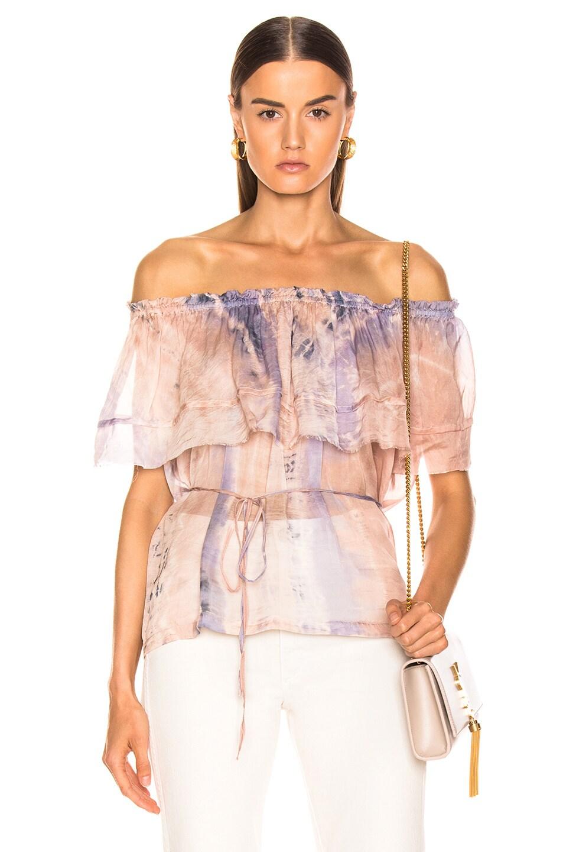 Image 1 of Raquel Allegra Ruffle Top in Peach Tie Dye