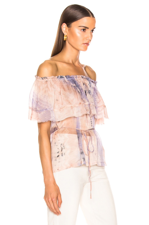 Image 2 of Raquel Allegra Ruffle Top in Peach Tie Dye