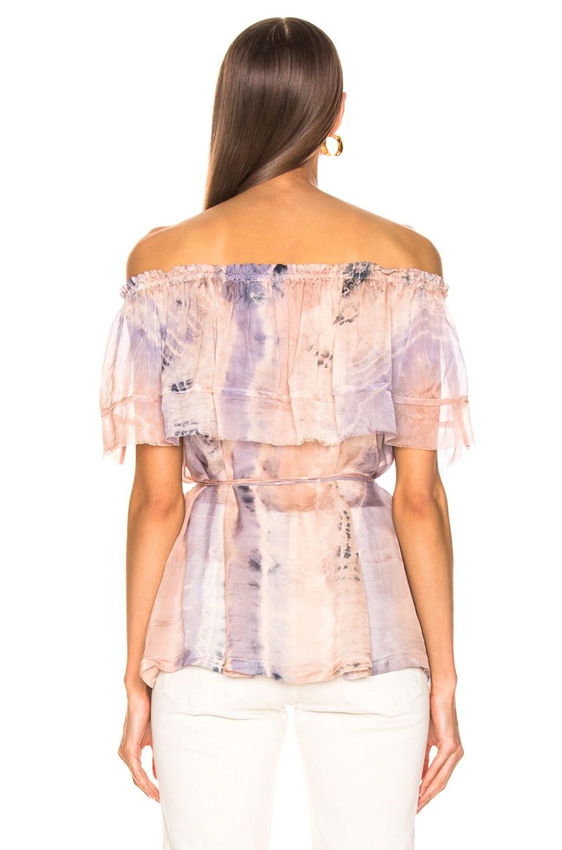 Image 3 of Raquel Allegra Ruffle Top in Peach Tie Dye