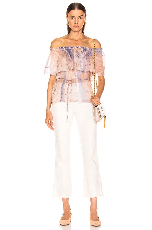 Image 4 of Raquel Allegra Ruffle Top in Peach Tie Dye