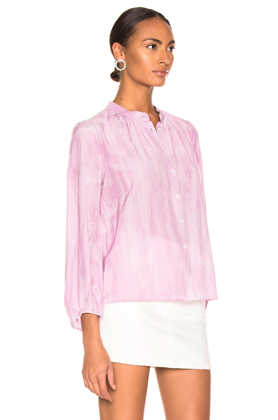 Image 2 of Raquel Allegra Shirred Bell Blouse in Peony Tie Dye