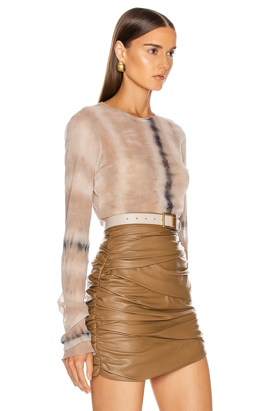 Image 2 of Raquel Allegra Fitted Mesh Long Sleeve in Sand Camo Tie Dye