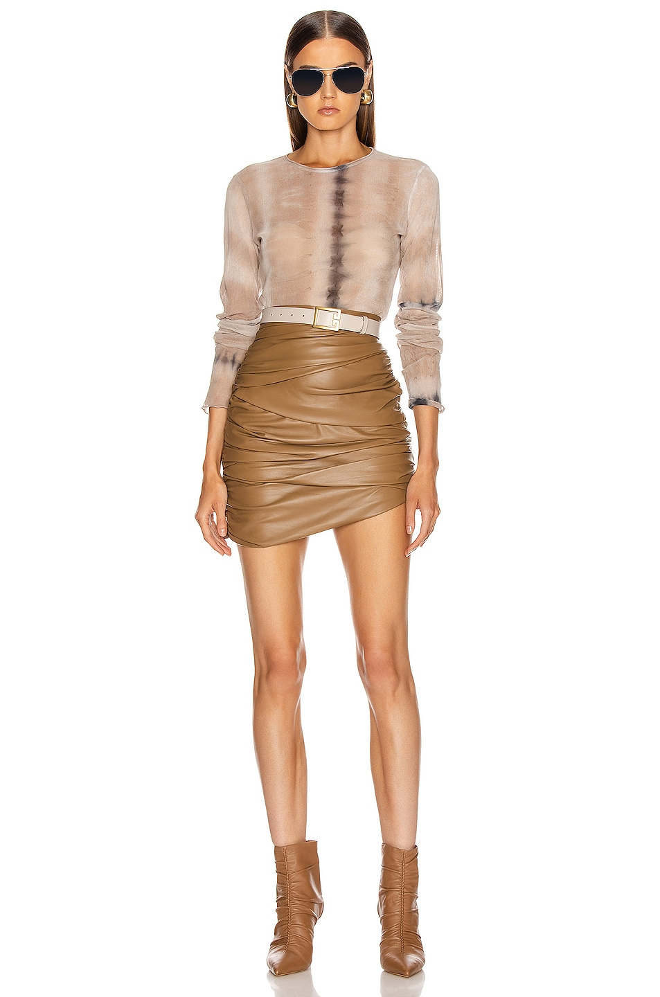 Image 4 of Raquel Allegra Fitted Mesh Long Sleeve in Sand Camo Tie Dye