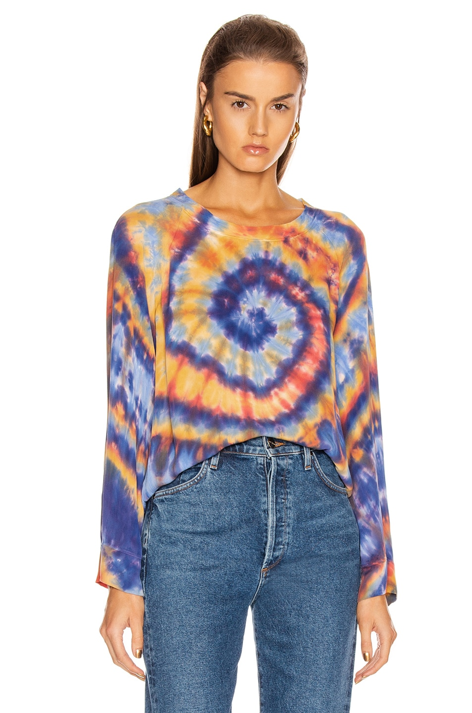 Image 1 of Raquel Allegra Raglan Blouse in Rainbow Tie Dye