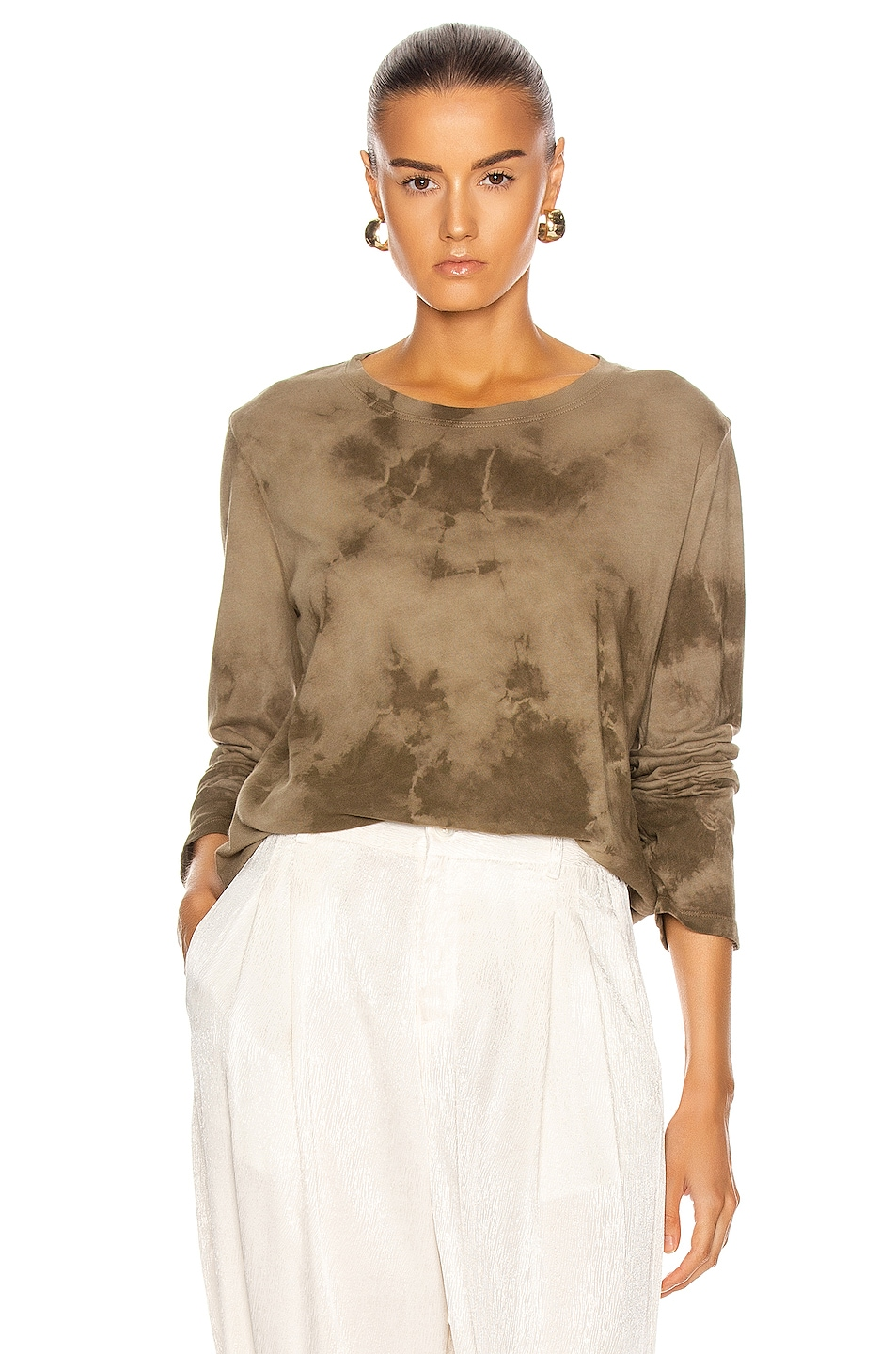 Image 1 of Raquel Allegra Long Sleeve Tee in Army Tie Dye