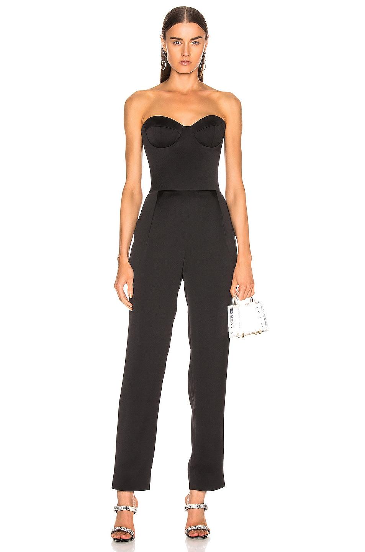 Image 1 of RASARIO Sweetheart Corset Jumpsuit in Black