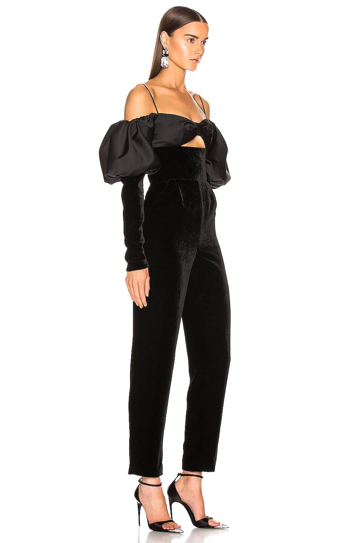 Image 2 of RASARIO Puff Sleeve Jumpsuit in Black