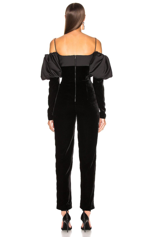Image 3 of RASARIO Puff Sleeve Jumpsuit in Black