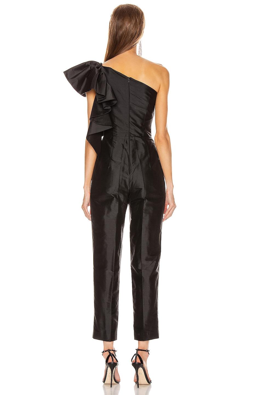 Image 4 of RASARIO Ruffled One Shoulder Jumpsuit in Black