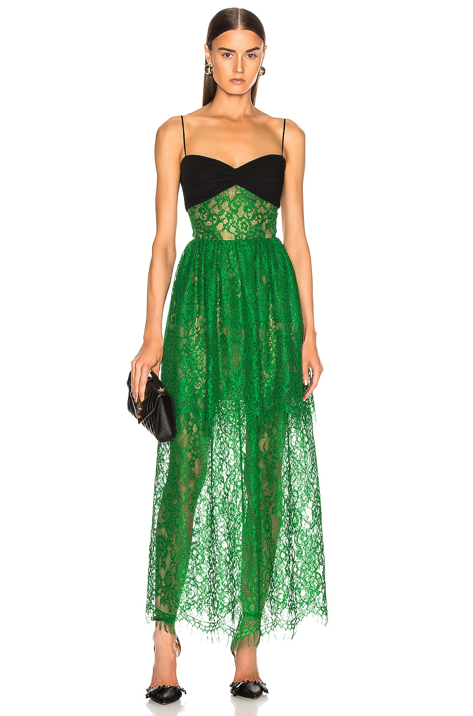 Image 1 of RASARIO Bustier Lace Maxi Dress in Green & Black