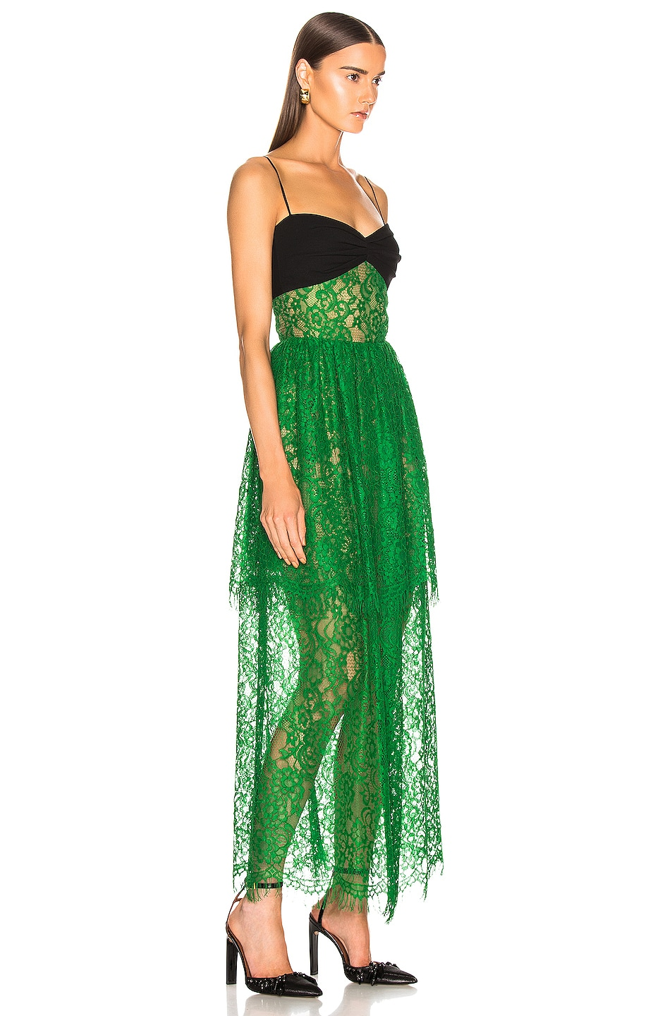 Image 2 of RASARIO Bustier Lace Maxi Dress in Green & Black