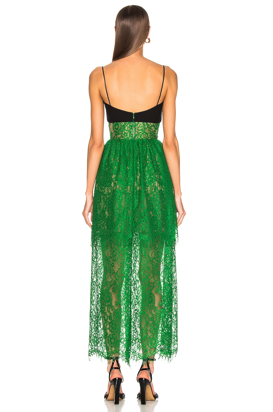 Image 3 of RASARIO Bustier Lace Maxi Dress in Green & Black