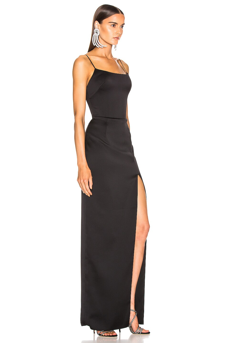 Image 2 of RASARIO Front Split Gown in Black