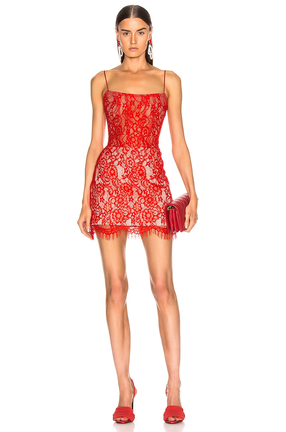 Image 1 of RASARIO for FWRD Lace Mini Dress in Red