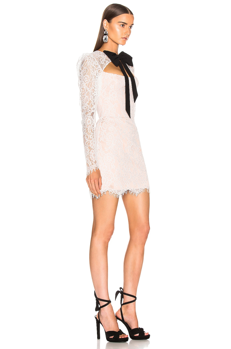 Image 2 of RASARIO Lace Corset Mini Dress with Bow in White