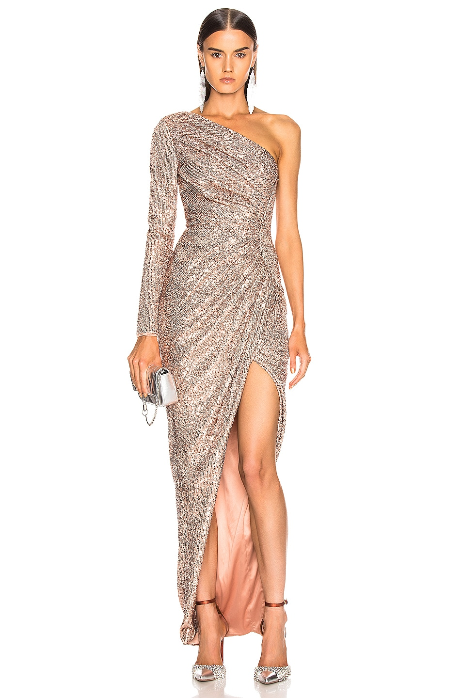 Image 1 of RASARIO One Shoulder Draped Sequin Gown in Gold