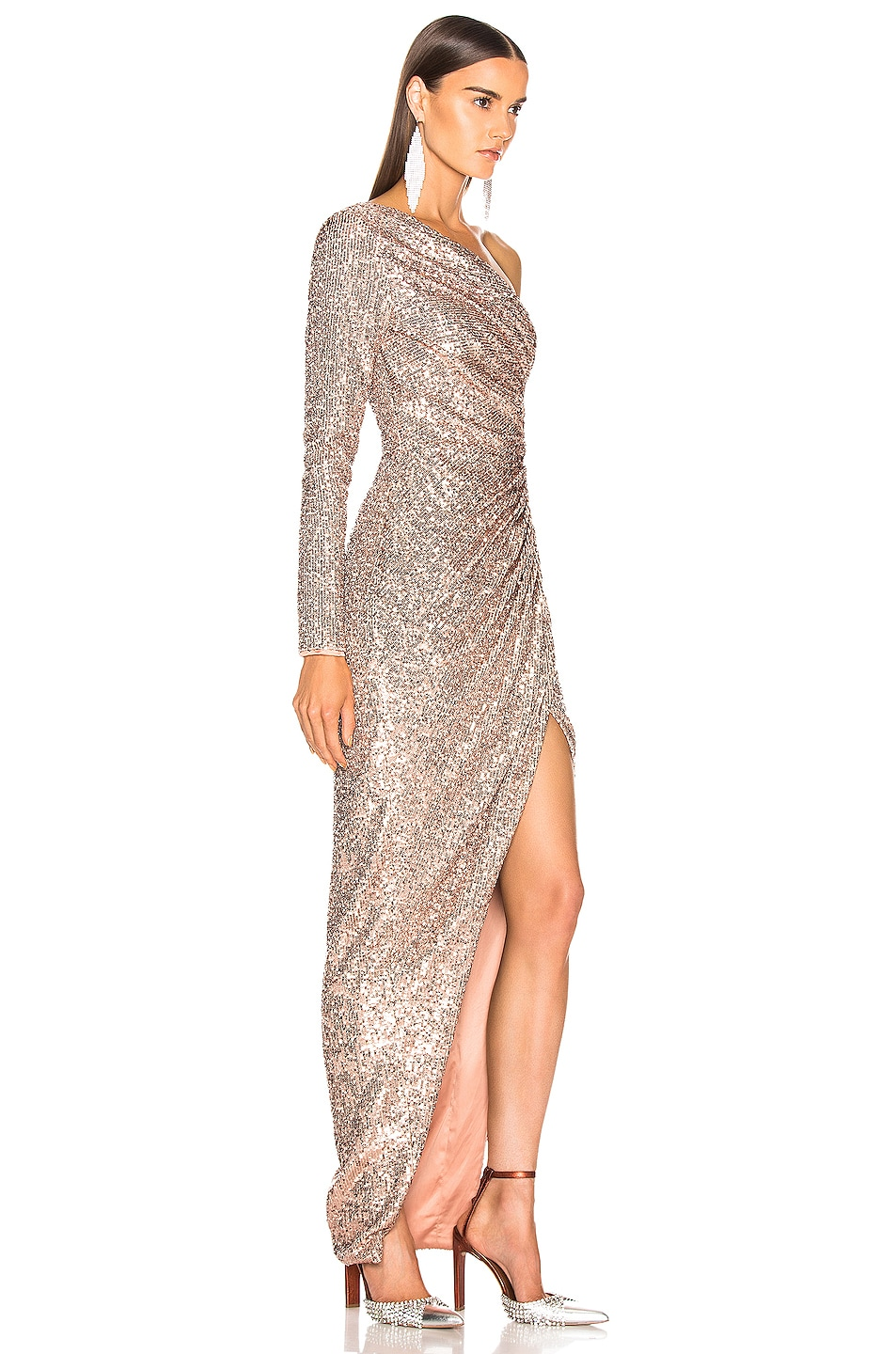 Image 2 of RASARIO One Shoulder Draped Sequin Gown in Gold