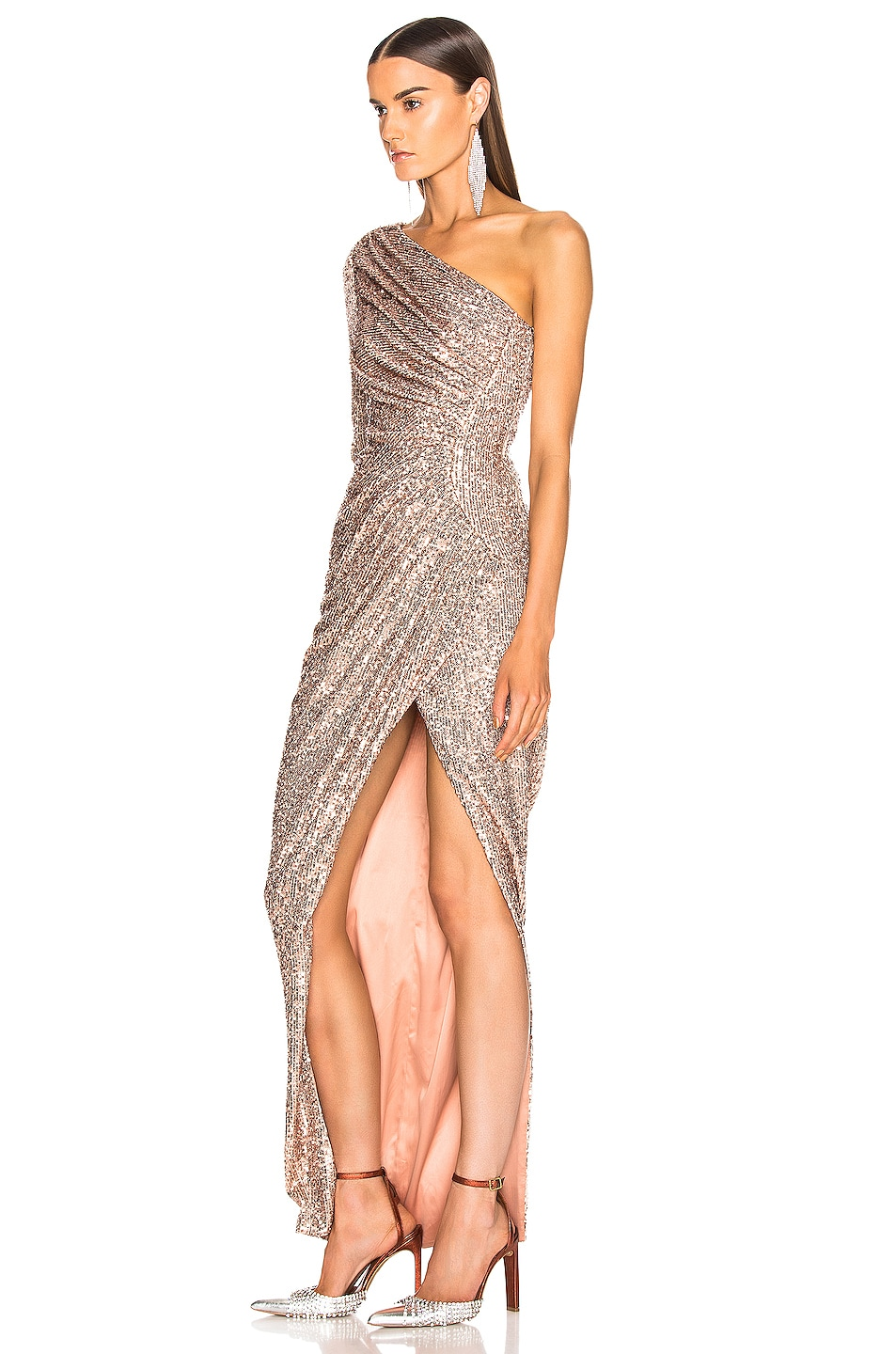 Image 3 of RASARIO One Shoulder Draped Sequin Gown in Gold