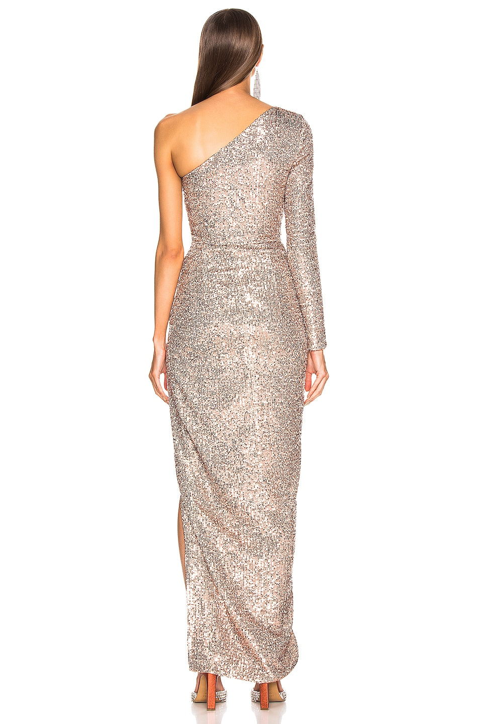 Image 4 of RASARIO One Shoulder Draped Sequin Gown in Gold