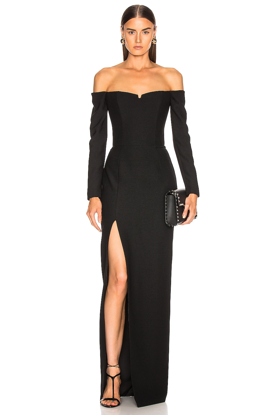 Image 1 of RASARIO Cold Shoulder Corset Gown in Black