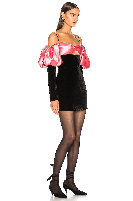 Image 2 of RASARIO Puff Sleeve Mini Dress in Black & Pink