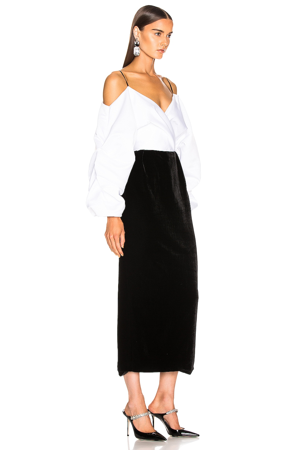 Image 2 of RASARIO Cold Shoulder Midi Dress in Black & White
