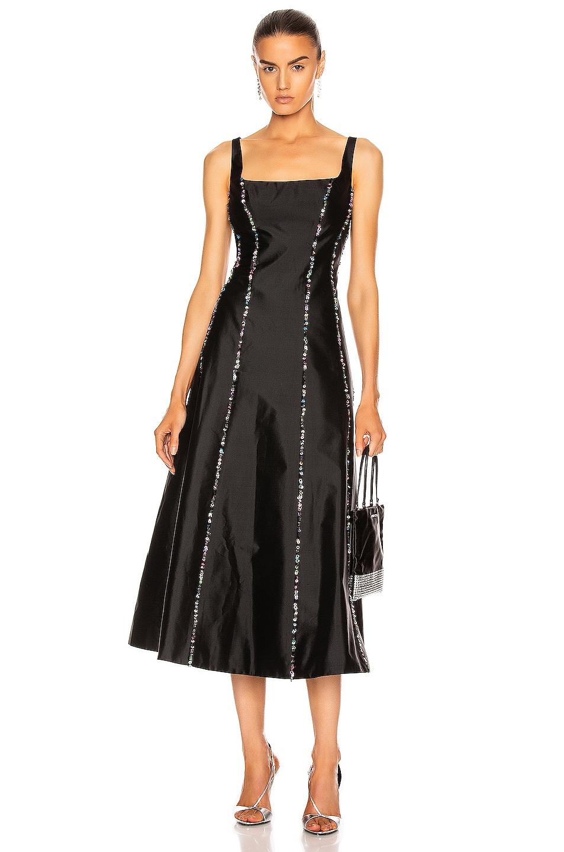 Image 1 of RASARIO Sequined Silk Midi Dress in Black