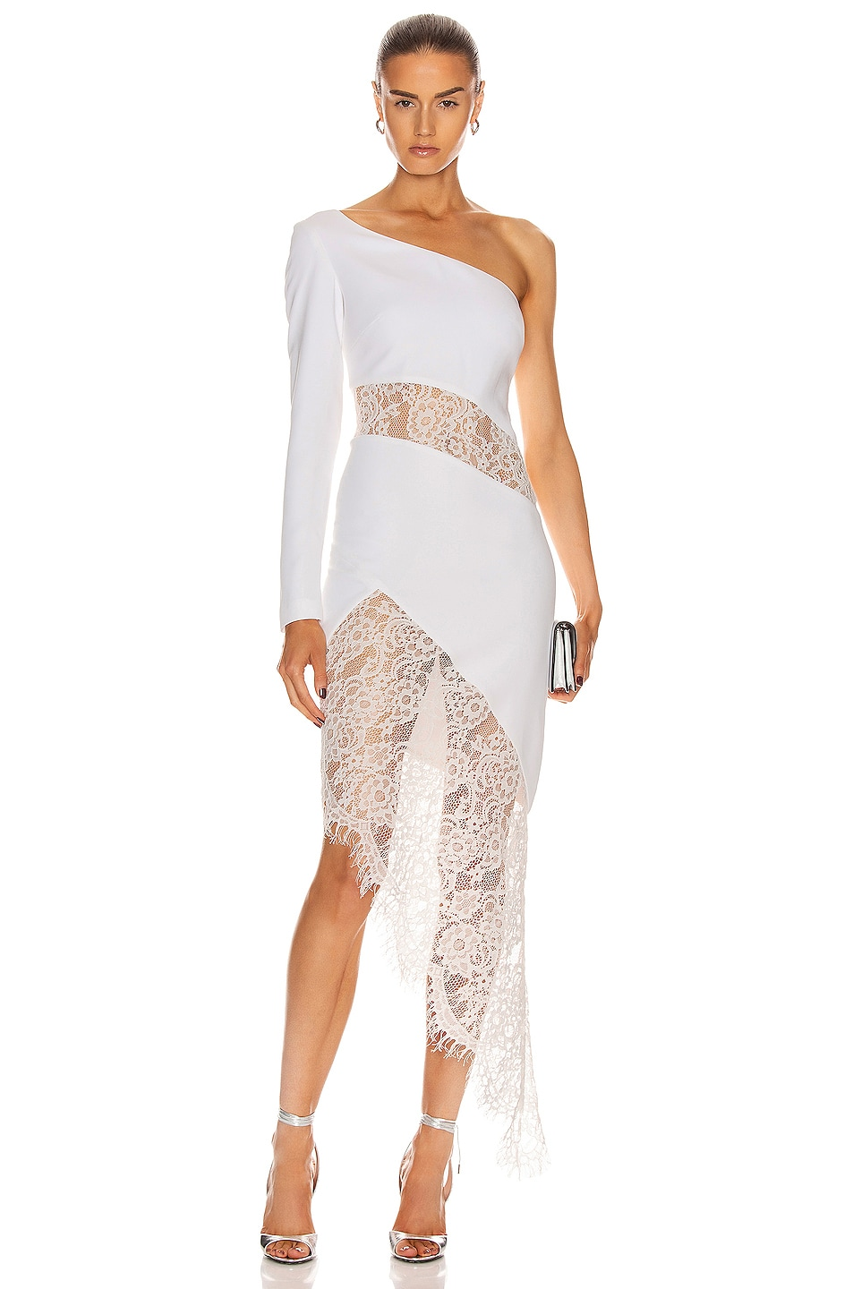 Image 1 of RASARIO Asymmetric Crepe and Lace Midi Dress in White