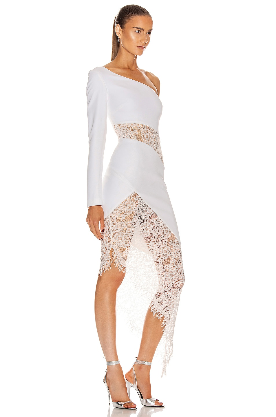Image 2 of RASARIO Asymmetric Crepe and Lace Midi Dress in White