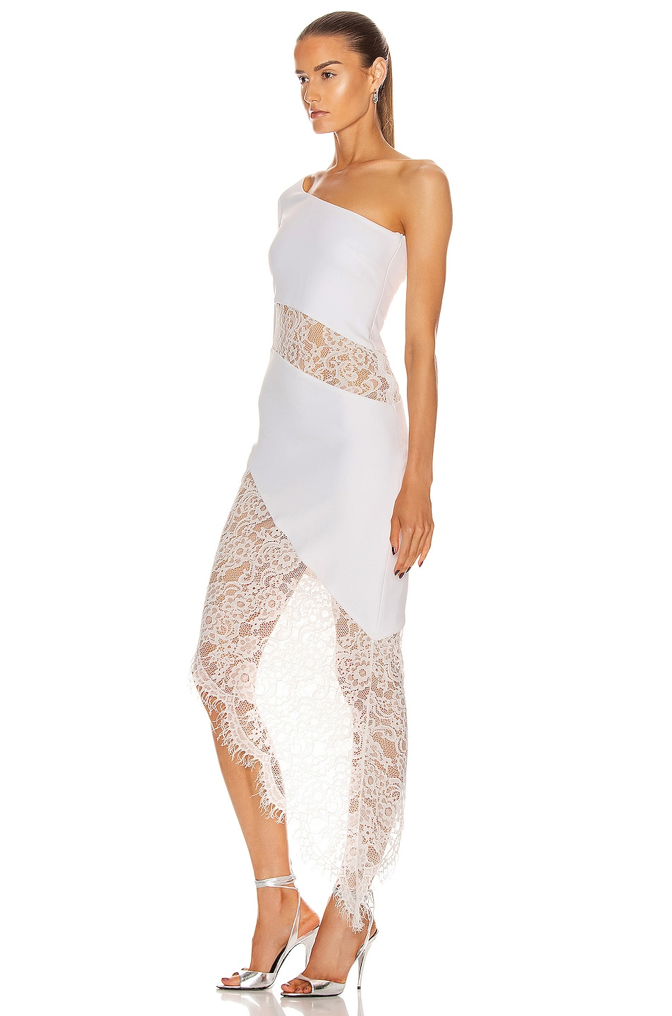 Image 3 of RASARIO Asymmetric Crepe and Lace Midi Dress in White