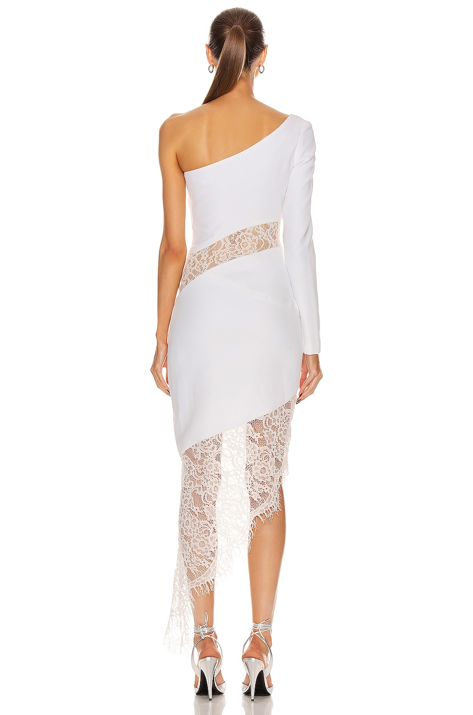 Image 4 of RASARIO Asymmetric Crepe and Lace Midi Dress in White