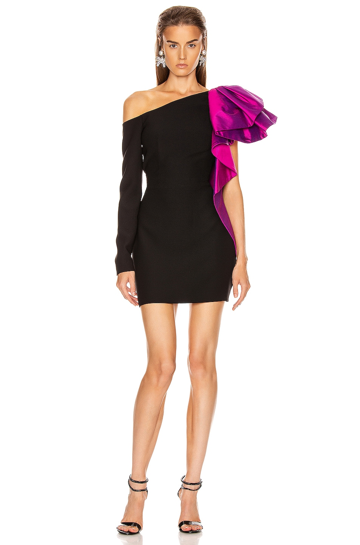 Image 2 of RASARIO Ruffled One Shoulder Mini Dress in Black & magenta