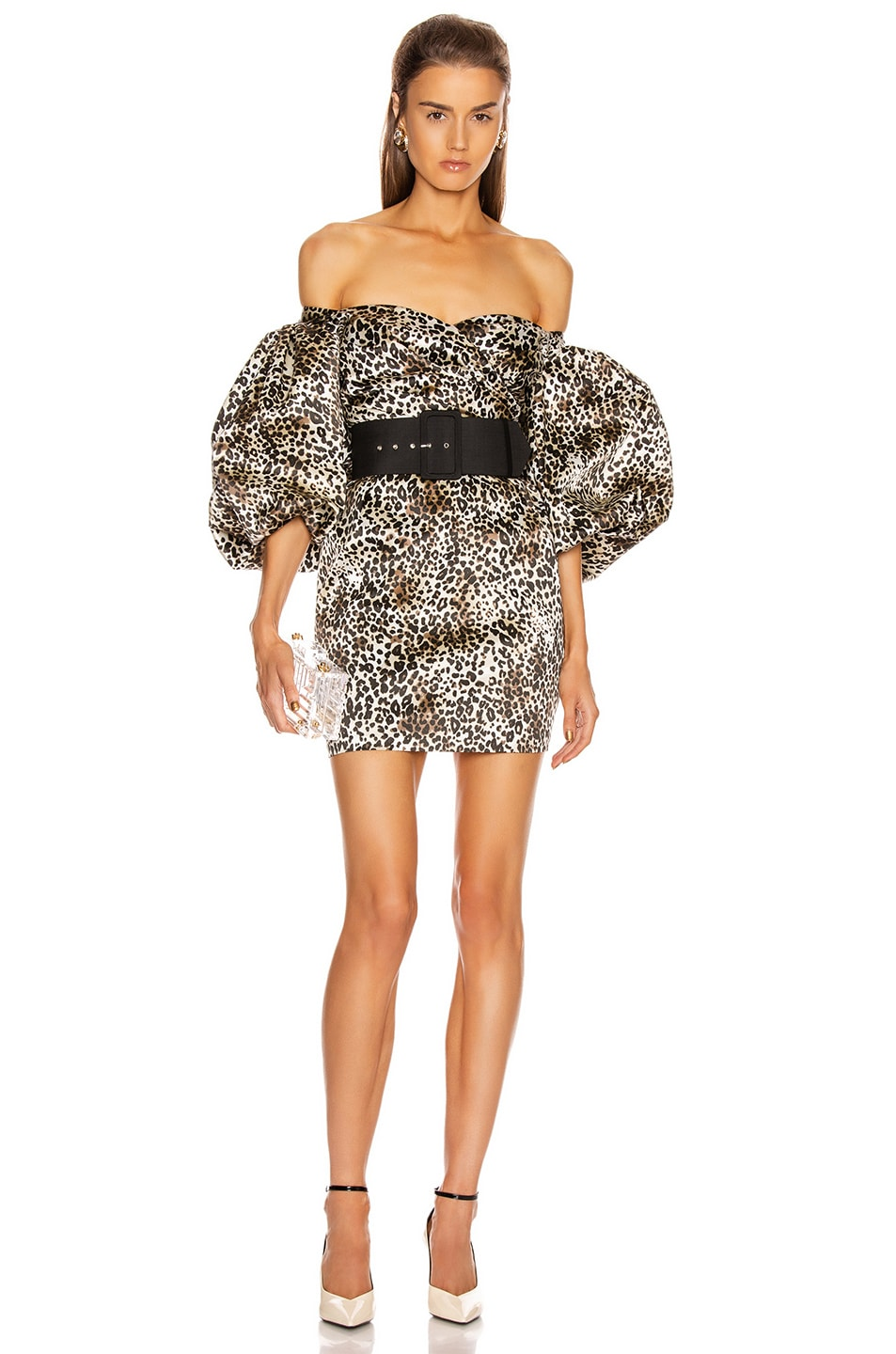 Image 1 of RASARIO Puff Sleeve Mini Dress in Beige & Black