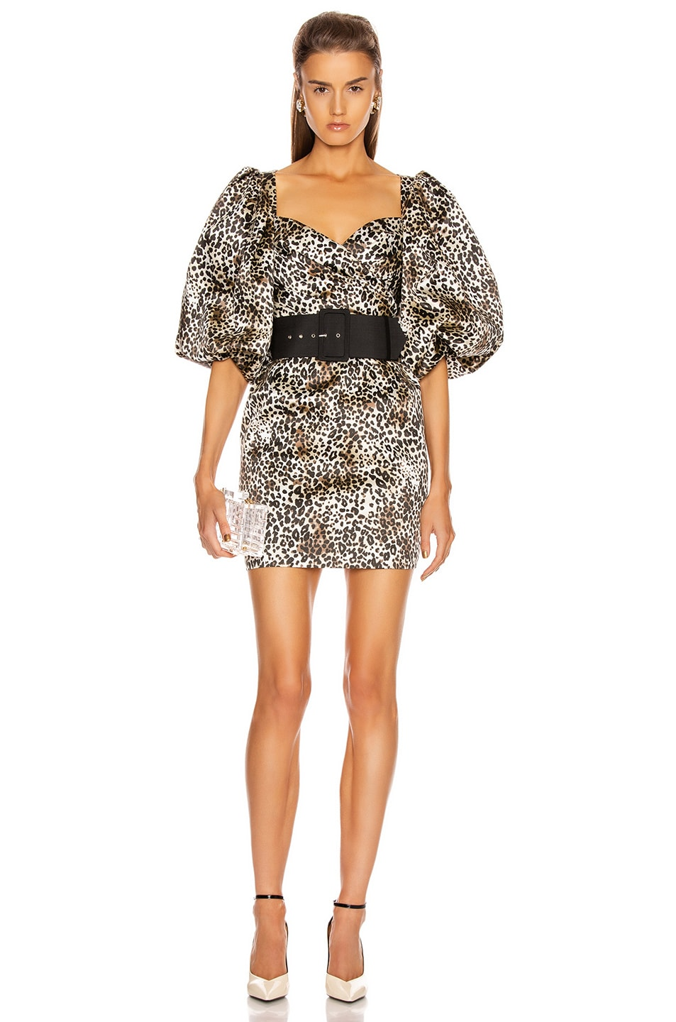 Image 2 of RASARIO Puff Sleeve Mini Dress in Beige & Black
