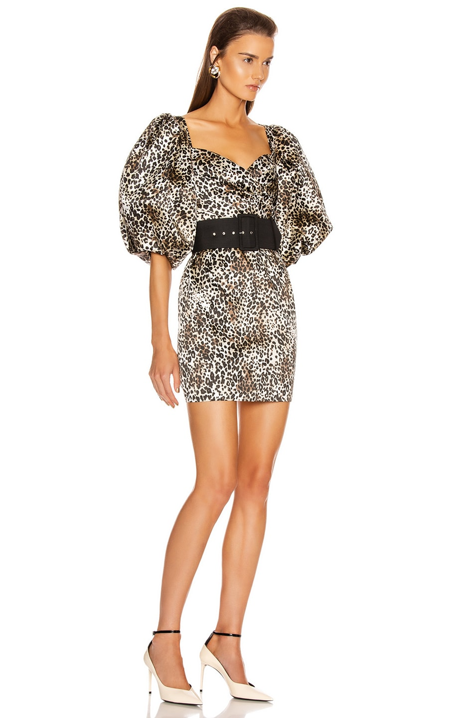 Image 3 of RASARIO Puff Sleeve Mini Dress in Beige & Black