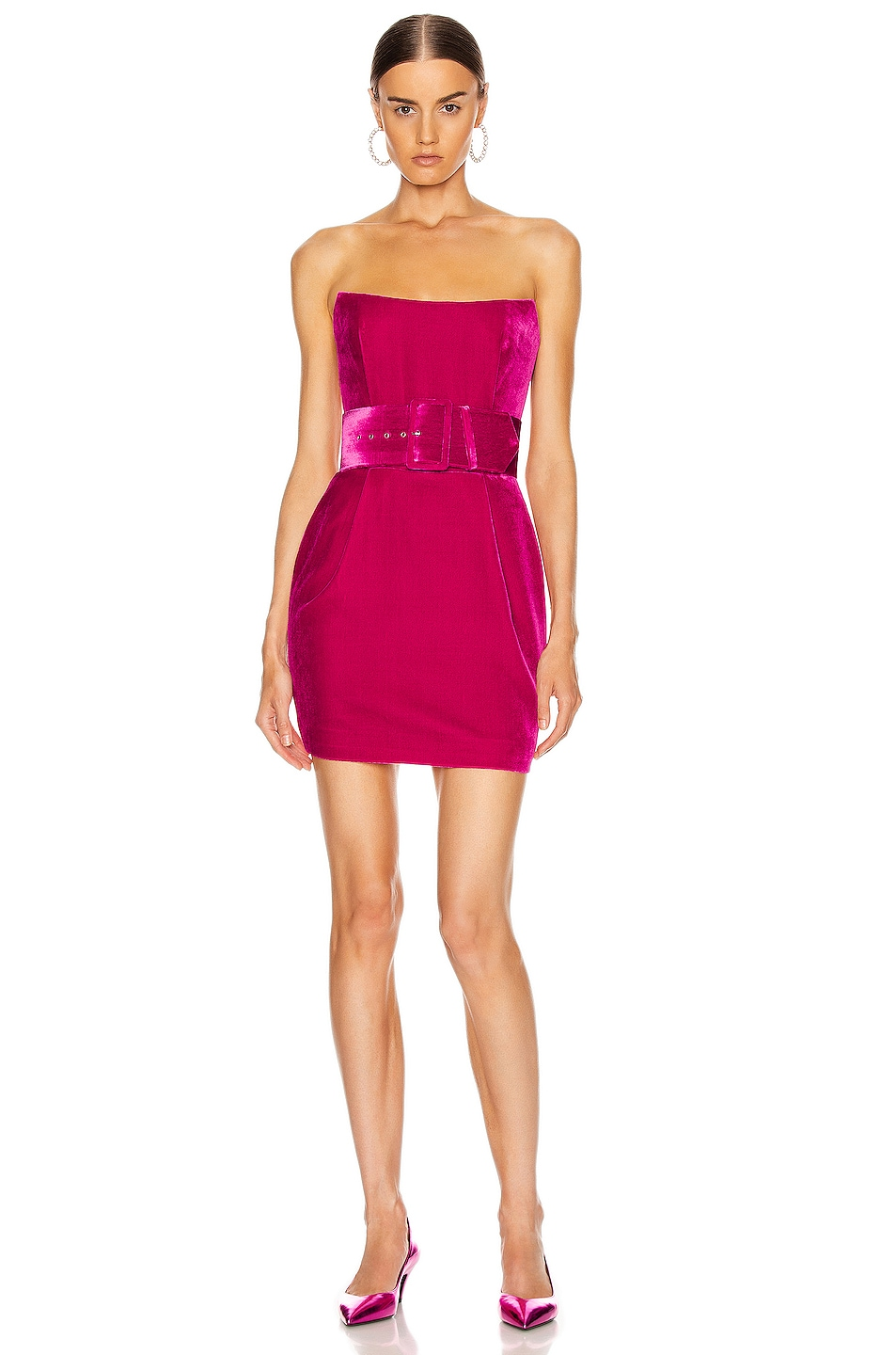 Image 1 of RASARIO Velvet Corset Mini Dress in Magenta
