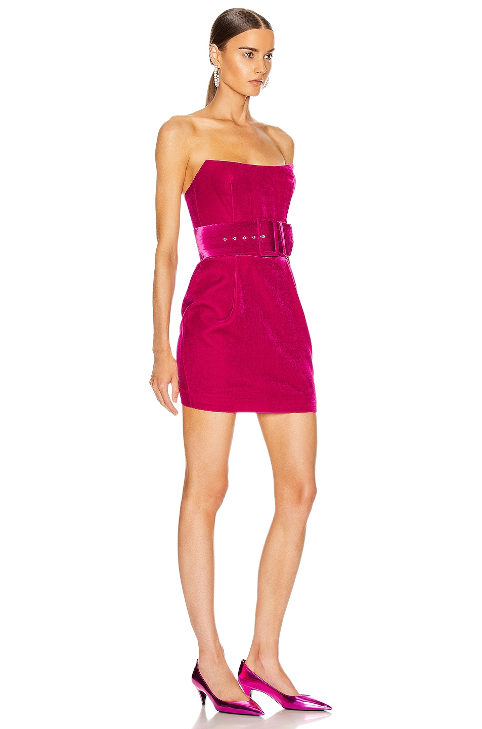 Image 2 of RASARIO Velvet Corset Mini Dress in Magenta