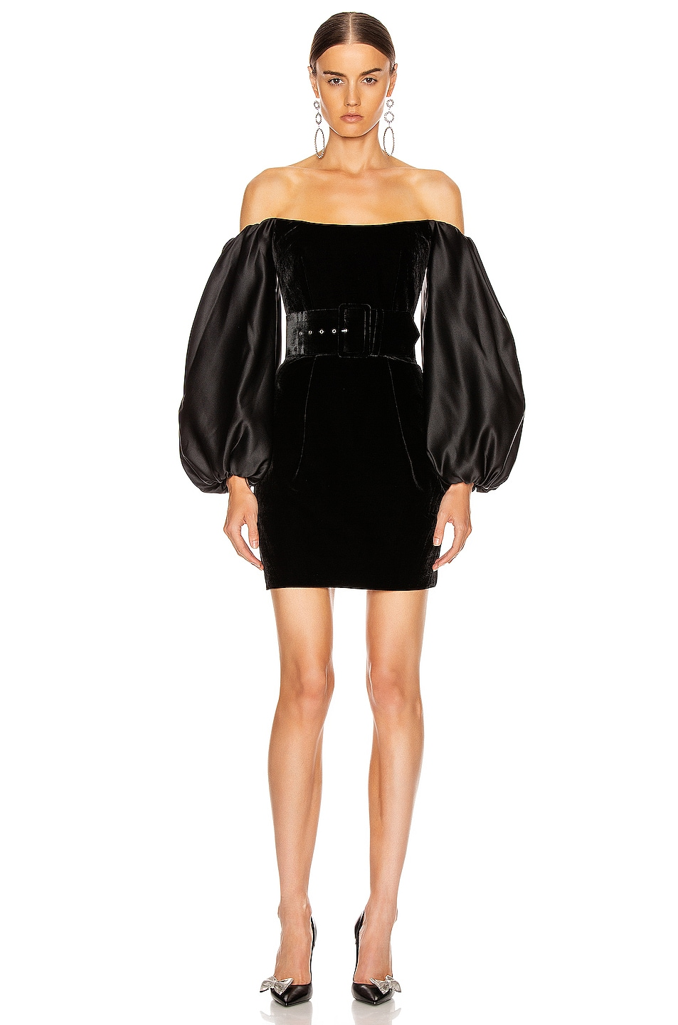 Image 1 of RASARIO Puff Sleeve Corset Mini Dress in Black